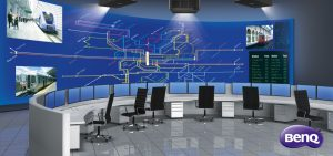 Network / Security Operations Center containing computers desks and a large screen containing the world map.; Shutterstock ID 273294227