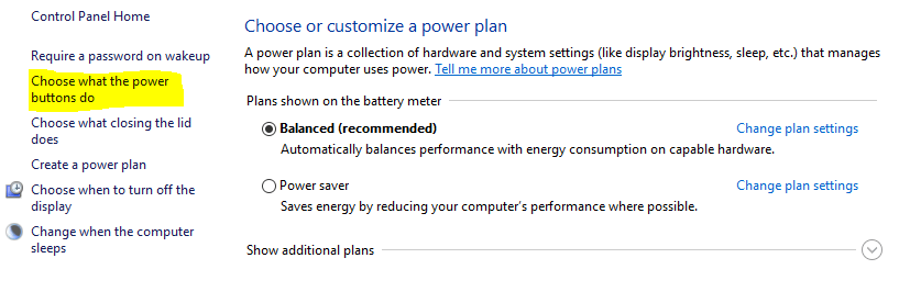 chose what the power buttons do