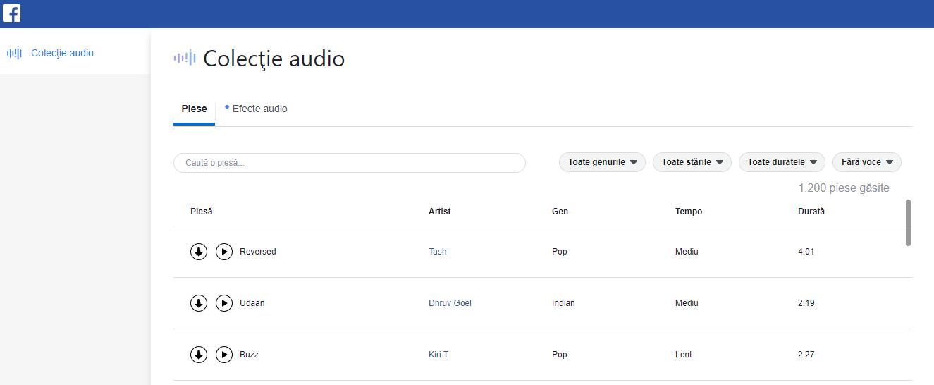 facebook sound collection