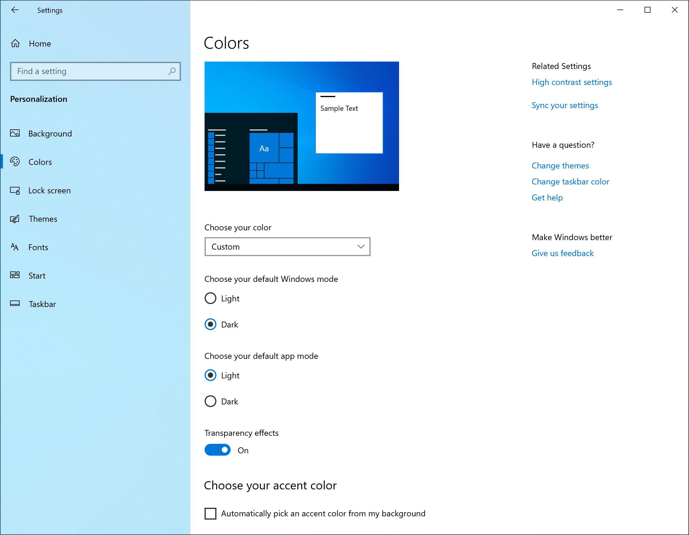 Setari tema Windows 10 preview