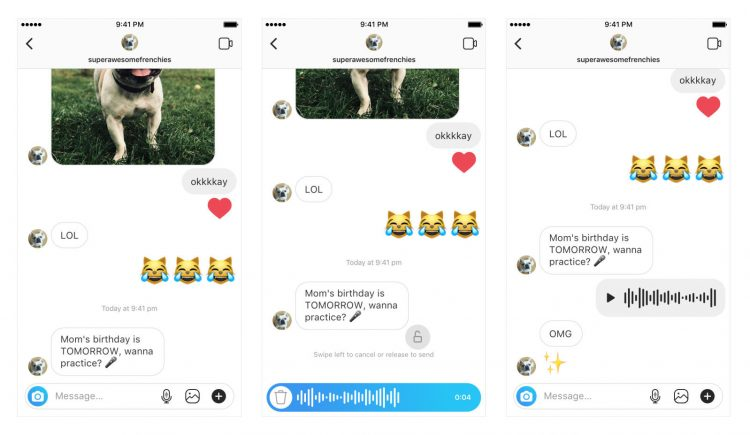 mesaje vocale instagram