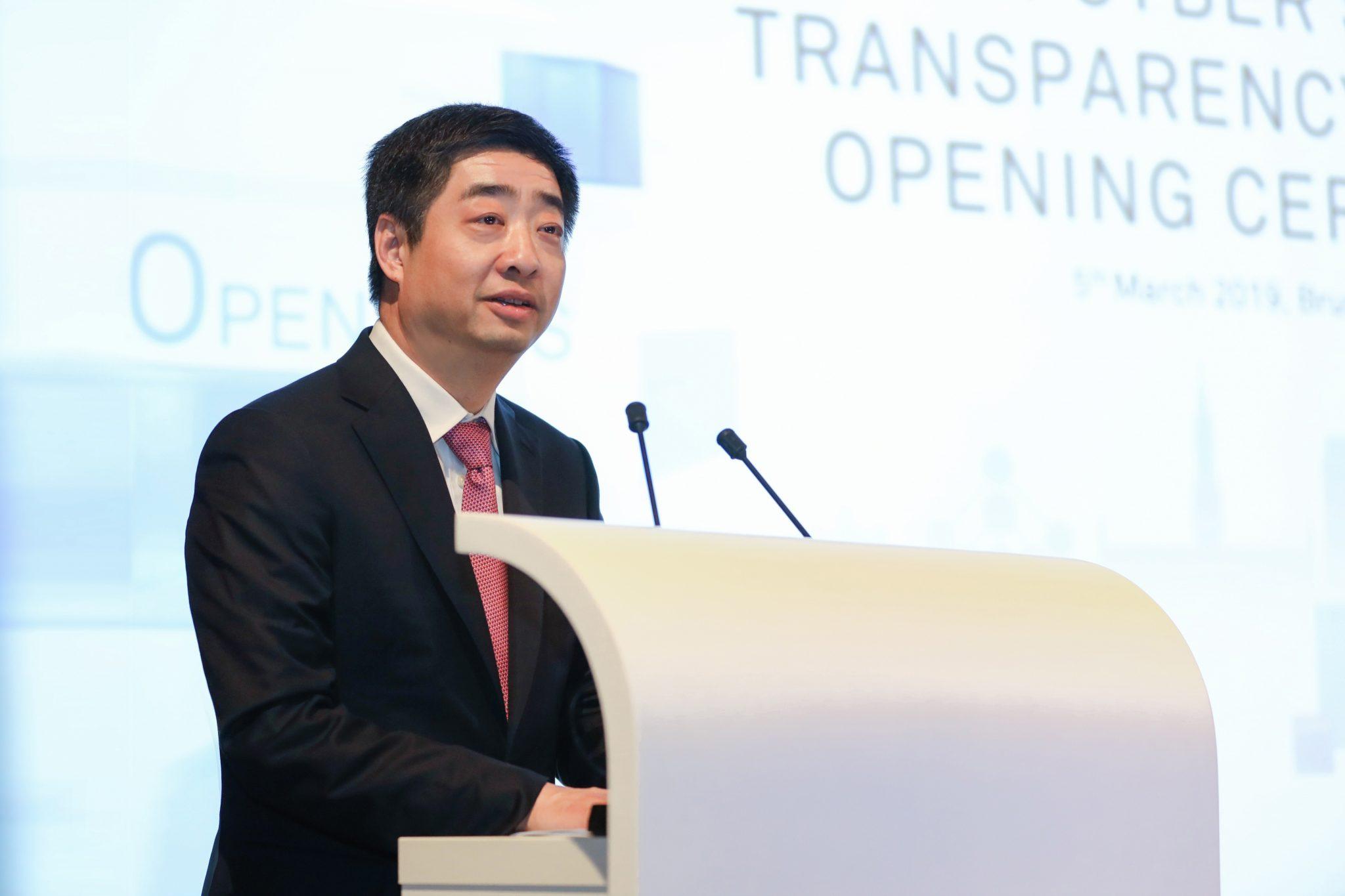 Ken Hu în timpul discursului de la Bruxelles