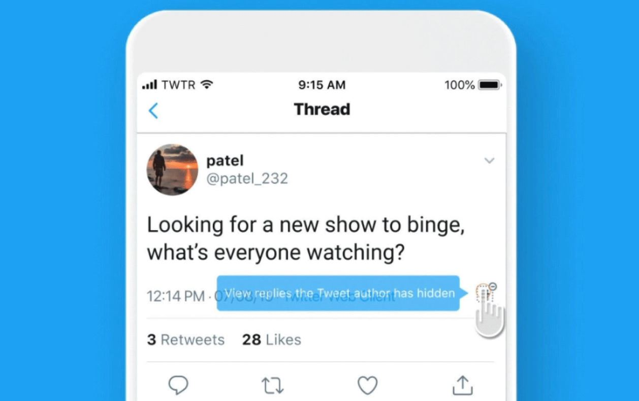 ascundere raspuns twitter