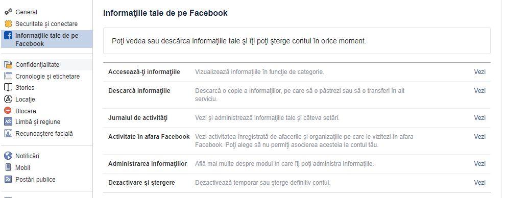 activitate in afara facebook