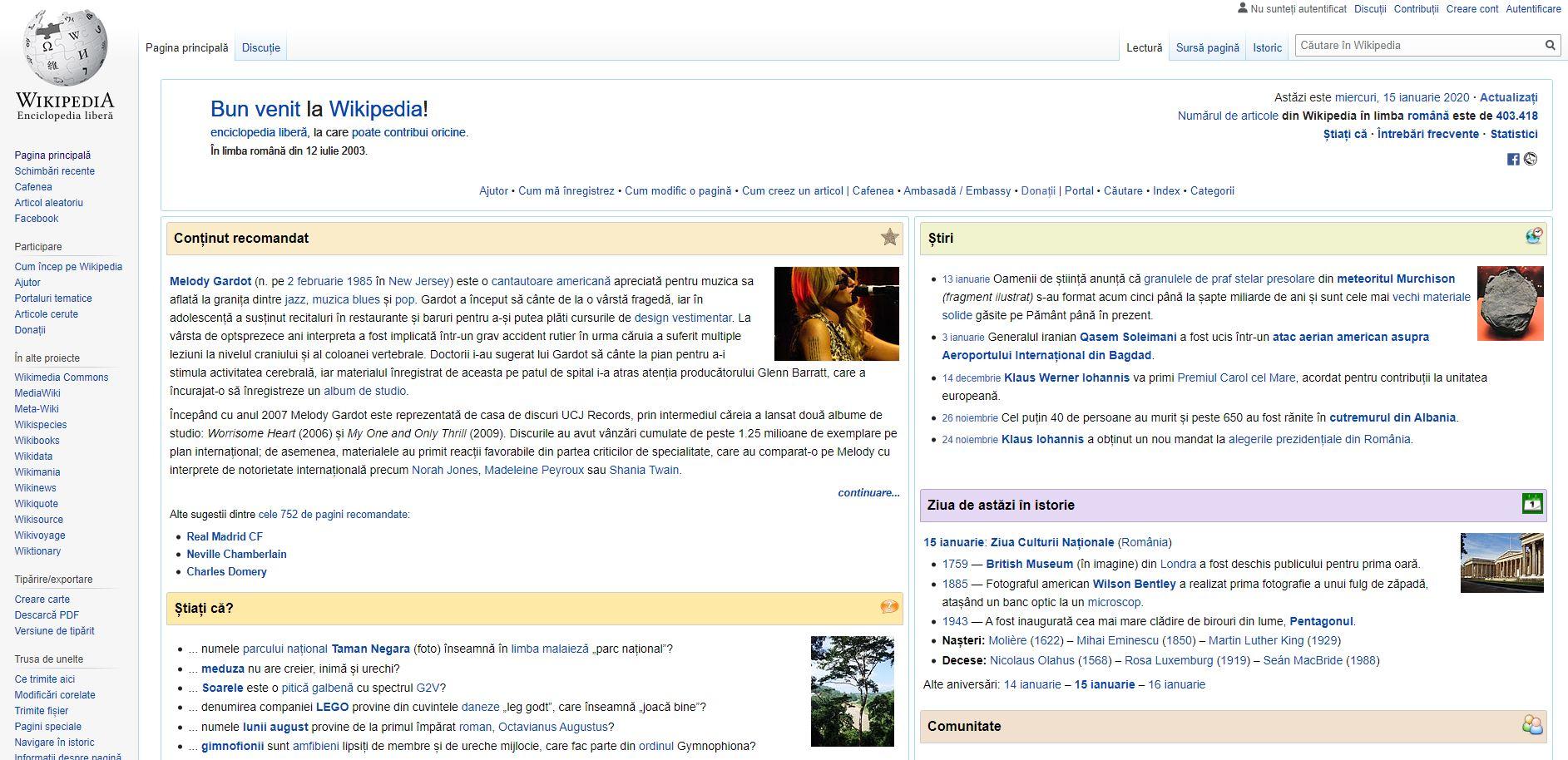 pagina start wikipedia romana