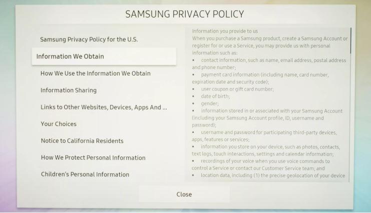 confidentialitate samsung smart tv
