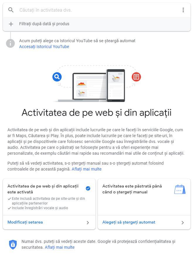 setari confidentialitate google activitate web