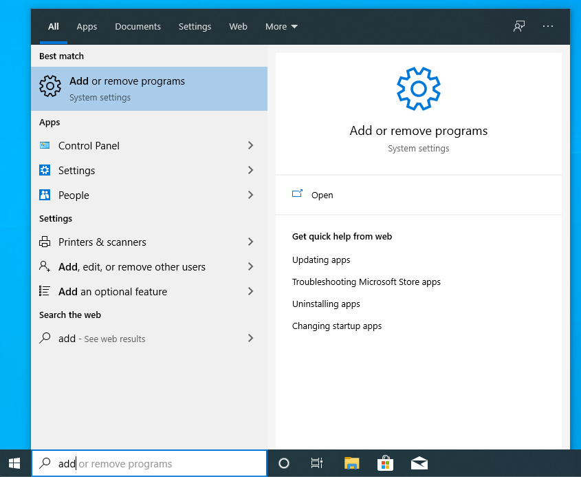 eliminare programe windows 10