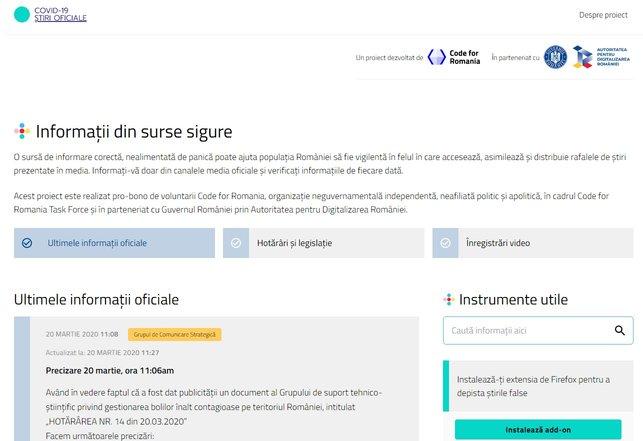 website stiri oficiale coronavirus