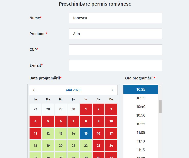 programare online permis