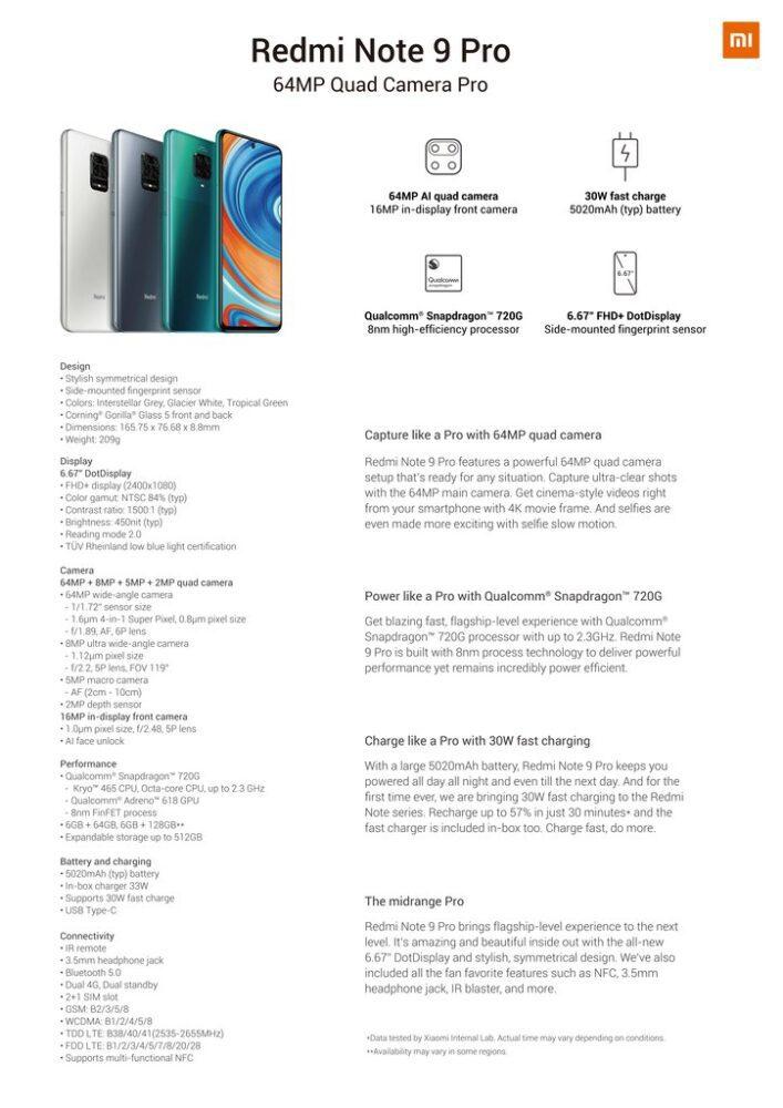 specifictatii Xiaomi redmi note 9 pro