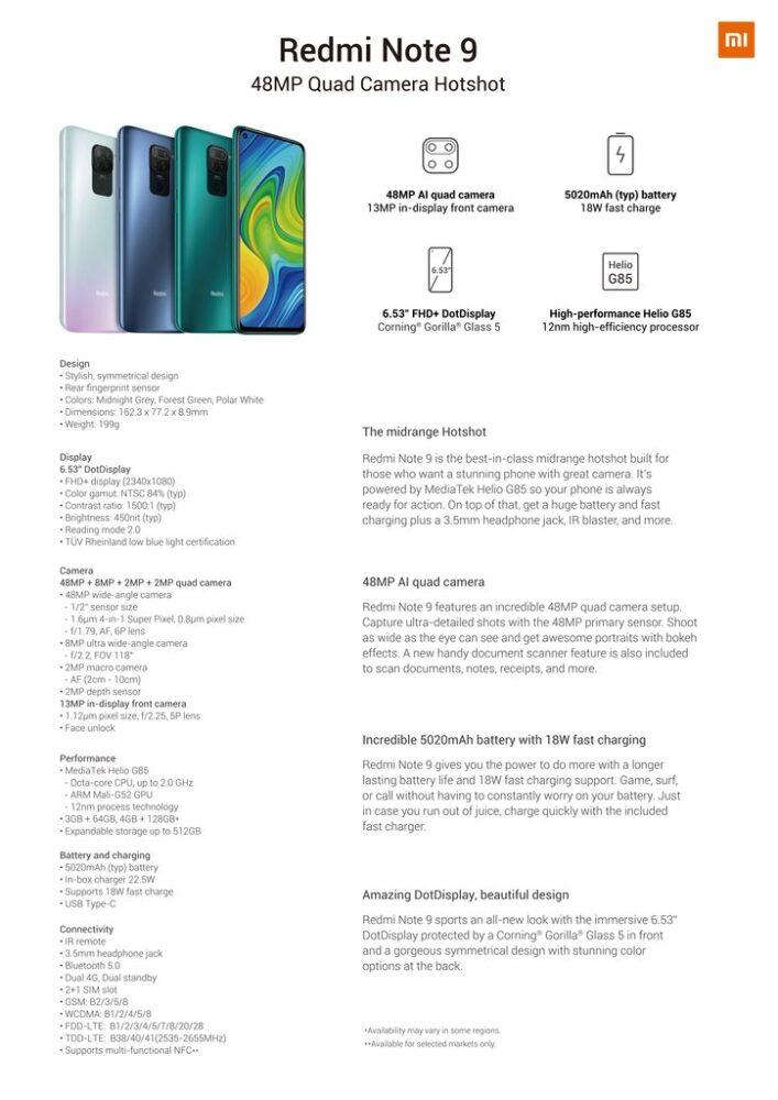 specificatii Xiaomi redmi note 9