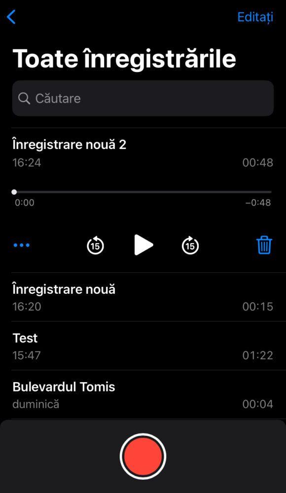 inregistrarea unei conversatii iphone