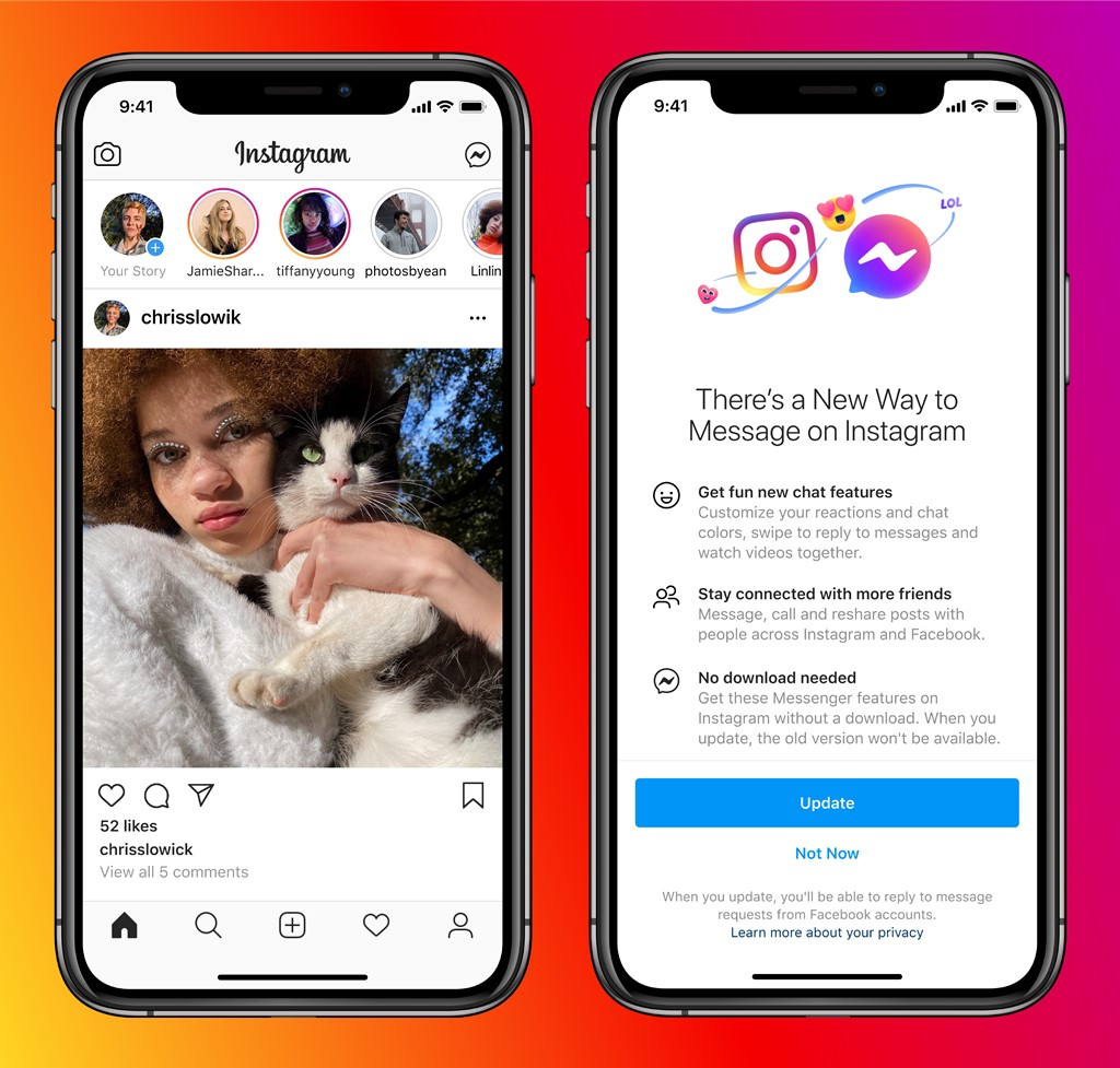 unire Messenger si Instagram DM