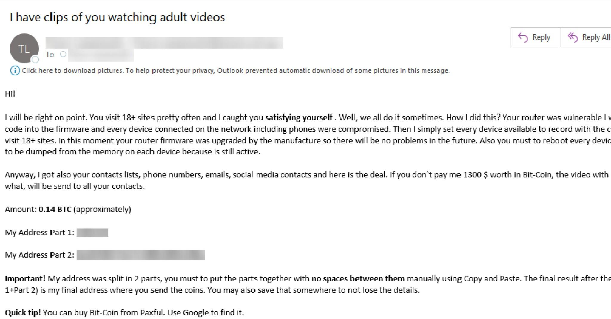 val masiv de e-mailuri de șantaj